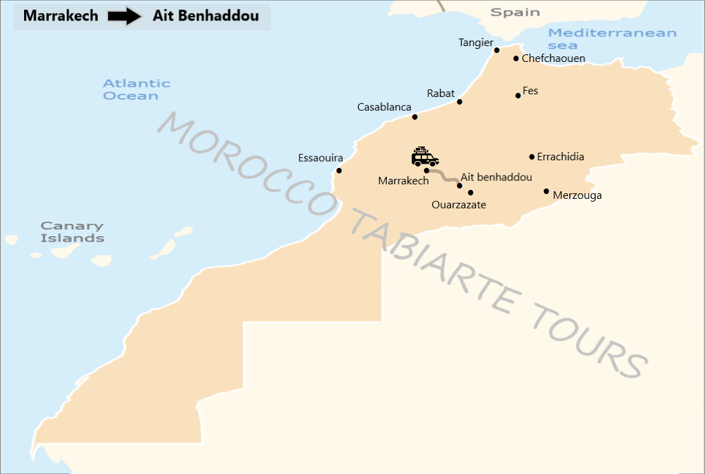 Map of Ait ben haddou day trip from Marrakech