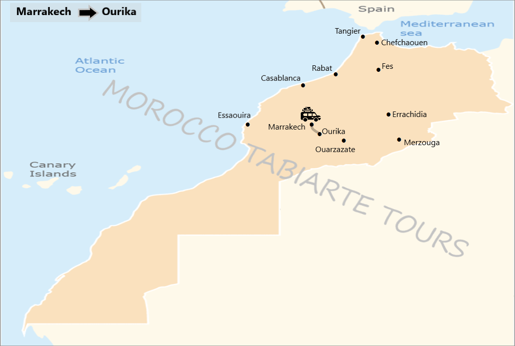 Map of OURIKA VALLEY DAY TRIP FROM MARRAKECH