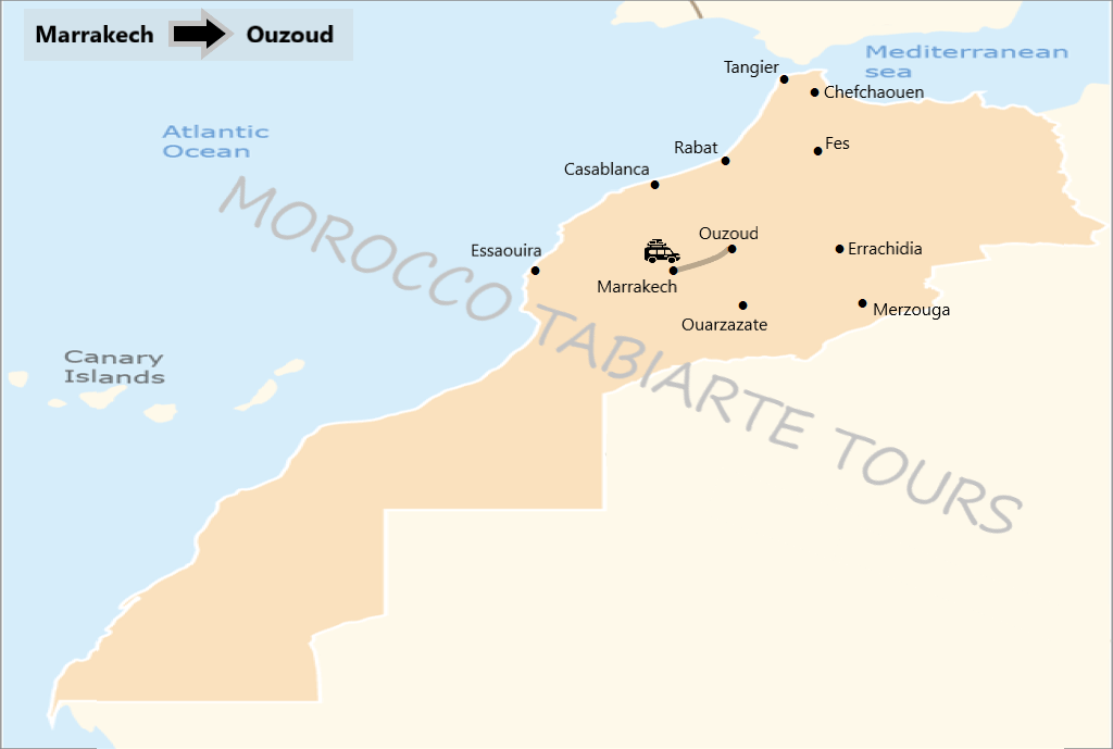 Map of day tour from Marrakech to ouzoud