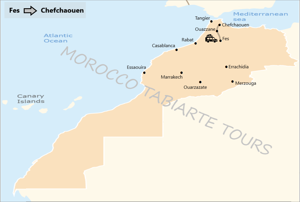 Map of fes day trips to Chefchaouen