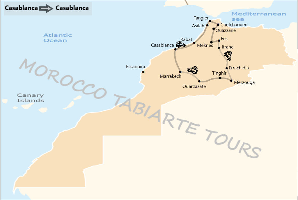 Map of 13 days tour itinerary in morocco