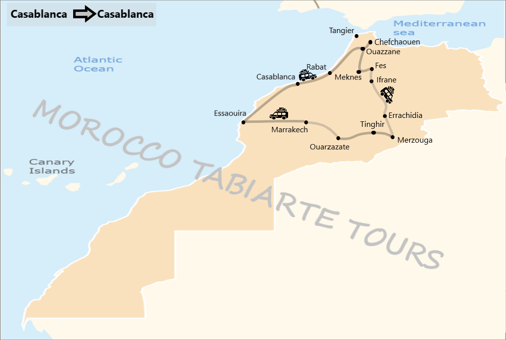 Map of tour itinerary from Casablanca back Casablanca 12 days, 11 days