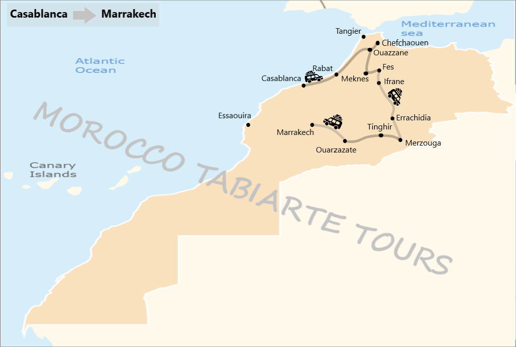 Map of morocco tour itinerary 7 days from casablanca