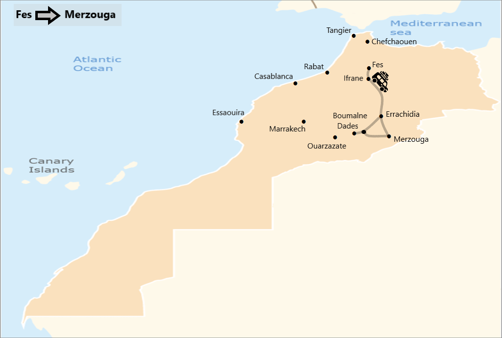 Map of 4 days desert tour from Fes to Merzouga