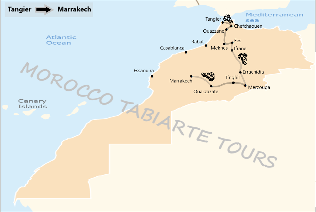 Map of 5 days, 6 days, 7 days, 10 days morocco grand tour itinerary from tangier