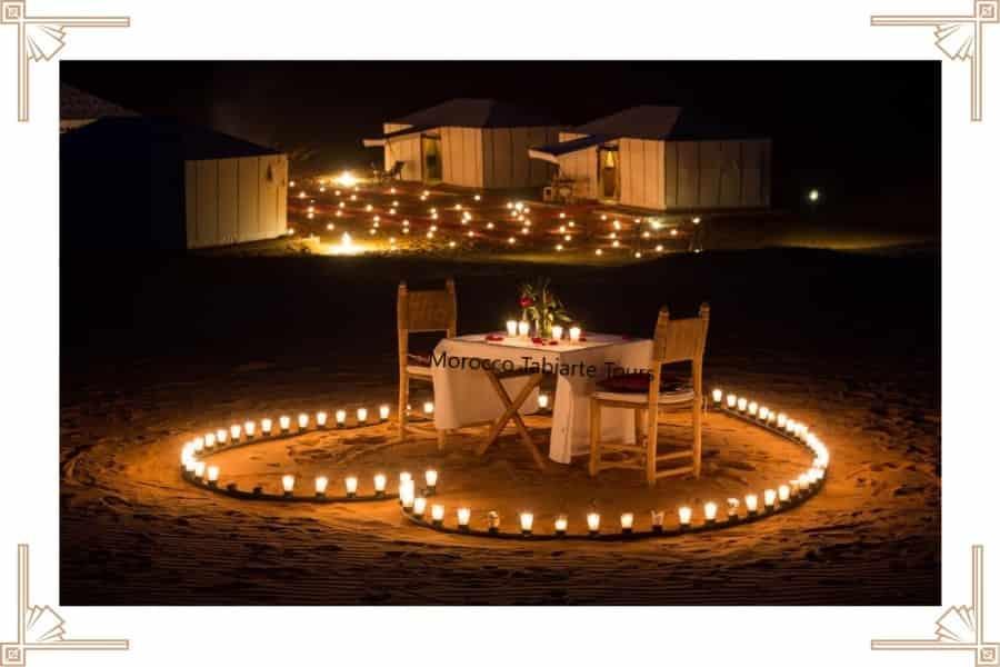 Romantic dinner in the Moroccan Sahara Desert